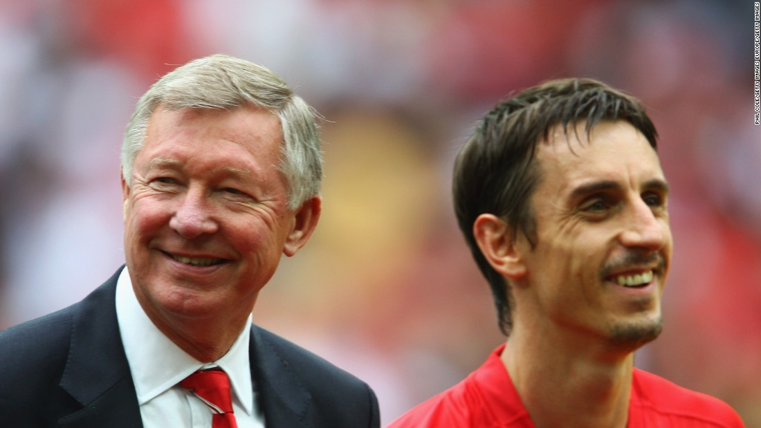 He played his entire Old Trafford career under one manager -- Alex Ferguson. The Scot, widely regarded as one of the greatest coaches of all time, helped Neville win eight English Premier League titles and two European Champions League crowns during his time at the club.