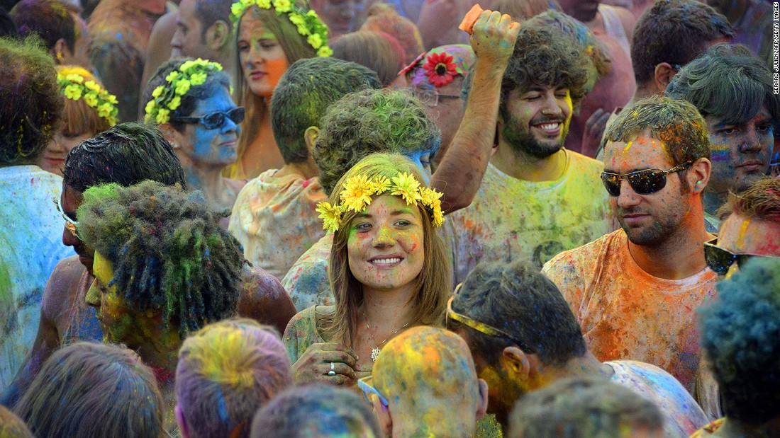 The riot of color that is India's Holi festival is enjoyed around the world (Spain is pictured here).  But it retains a special significance in Mathura, the spot revered as Krishna's birthplace.
