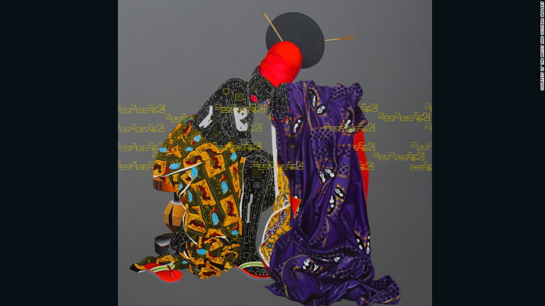 "<em>AbandonnÇs, 2015</em><br />""Eddy Kamuanga Ilunga was born in 1991, and included in Pangaea II; New Art from Africa and Latin America. His work is occupied with the social complexities of Congolese society and the Mangebetu people. He incorporates various techniques and diverse aesthetics, and references both traditional culture and pop culture."""