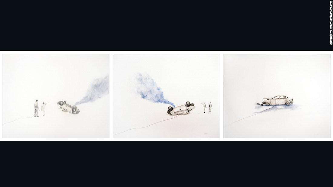 "<em>Walk under a white sky (triptych), 2015 </em><br /><br />""The Algerian artist often looks to political and social action and events in the region to inspire his multilayered creations, which juxtapose drawing and animation."""