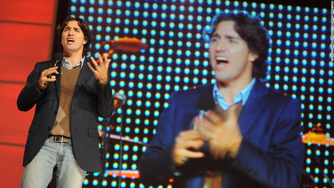 Trudeau addresses youths at Free the Children's National Me to We Day event in Toronto in October 2008. The annual event aims to empower young people to make a difference in their communities.
