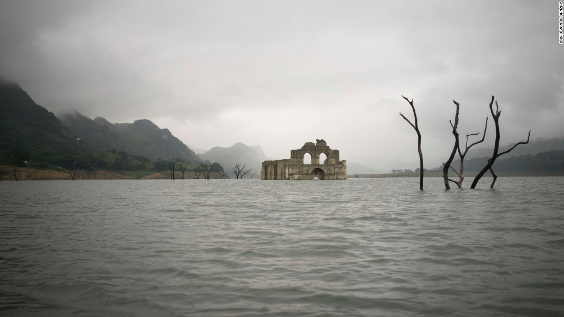 Due to a recent drought in the area, water levels have dropped 82 feet, to reveal the underwater structure.