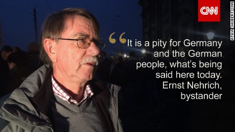 Dresden bystander Ernst Nehrich is shamed by anti-migrant protests