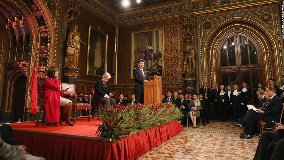Xi addresses lawmakers and peers in Parliament's Royal Gallery on October 20.