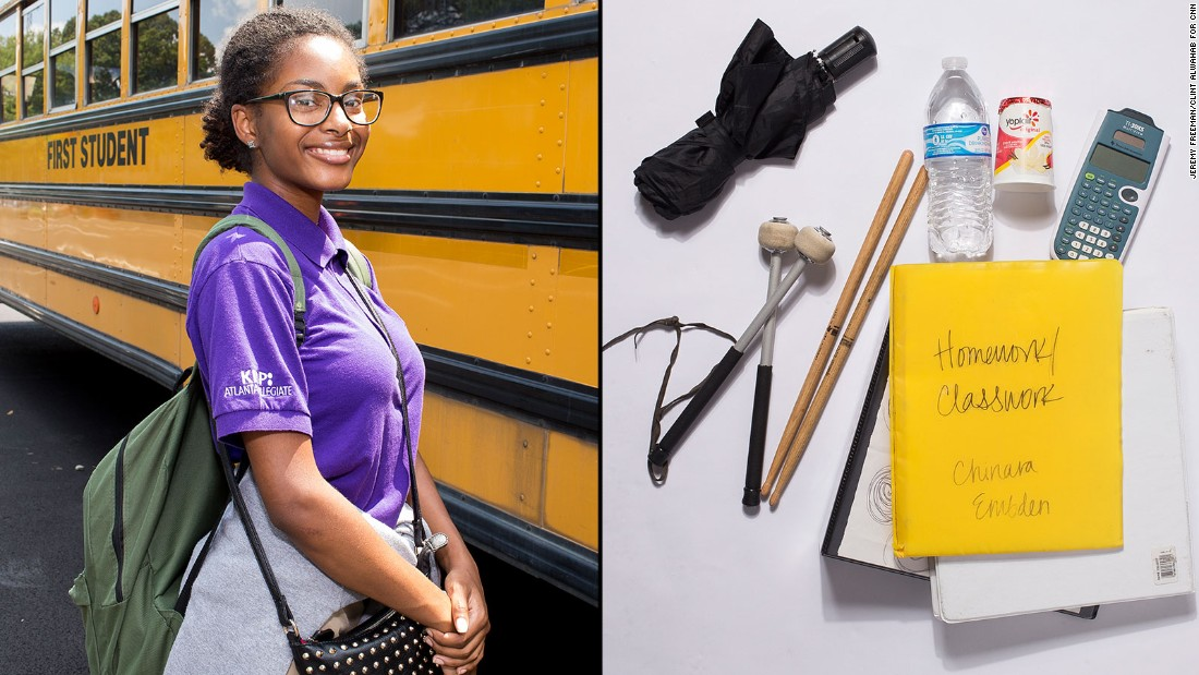 Chinara, a 10th-grade student at KIPP Atlanta Collegiate, said chemistry is her favorite class and she wishes she could stop carrying her notecards for studying world history.