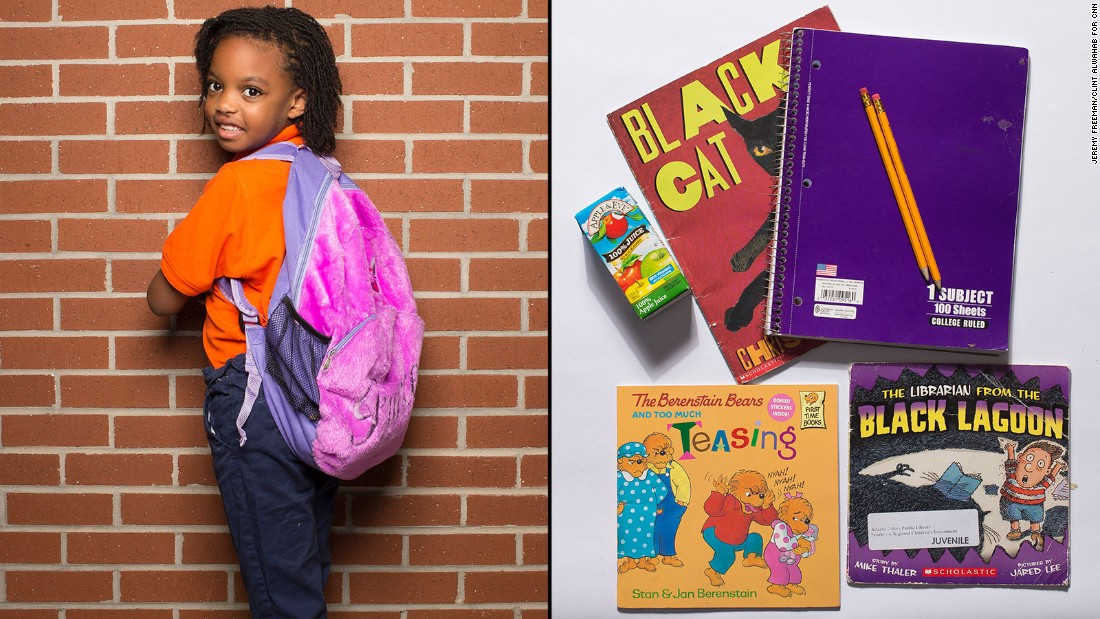 Ashe, a first-grade student at KIPP STRIVE Primary, said her folder was the most important thing in her backpack.