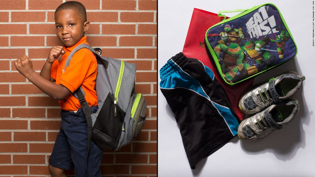 "Jahi, a student at KIPP STRIVE Primary, said he didn't want to carry his crayons anymore. ""My mom took care of them because I said it was sooooo heavy,"" he said."