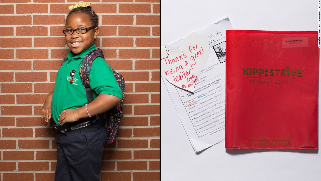 Aniyah, a second-grade student at KIPP STRIVE Primary, said her homework folder is the item she uses most.