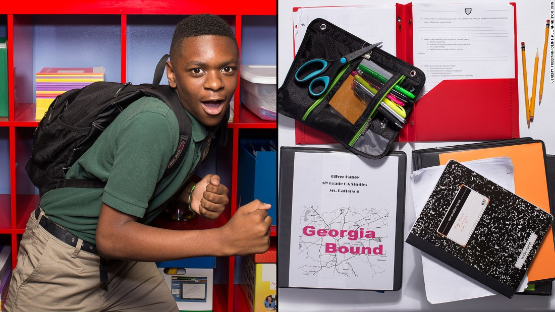 "Oliver, an eighth-grade student at KIPP STRIVE Academy, said his backpack is heavy, ""but not to the point where it's ridiculous."" Still, several weeks into the school year, he was still carrying most of his class binders instead of using his locker."
