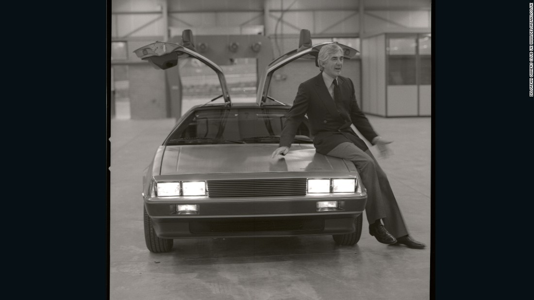 "John DeLorean, the man behind the machine, poses with his dream sports car -- the eponymous DMC-12 DeLorean. Of the decision to use the DeLorean in the Back to the Future film, co-writer and producer Bob Gale says: ""There was something dangerous, counterculture, something gorgeous about how beautiful that car was and we loved those gull-wing doors."" While the movie was being scripted, DeLorean was on trial for allegedly trying to smuggle $24 million dollars worth of cocaine. DeLorean was later acquitted by reason of entrapment."