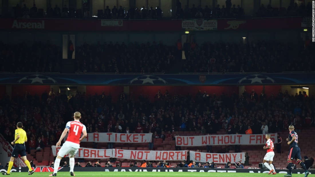 "Fans of German champions Bayern Munich protested at being charged £64 to watch its team play Arsenal in the European Champions League in October. They held up a banner that read: ""£64 a ticket. But without fans football is not worth a penny."""