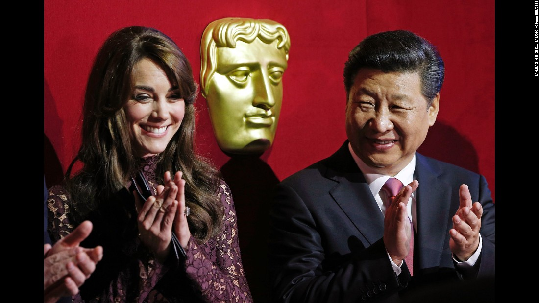 Xi was at Lancaster House to attend a presentation by the British Academy of Film and Television Arts.