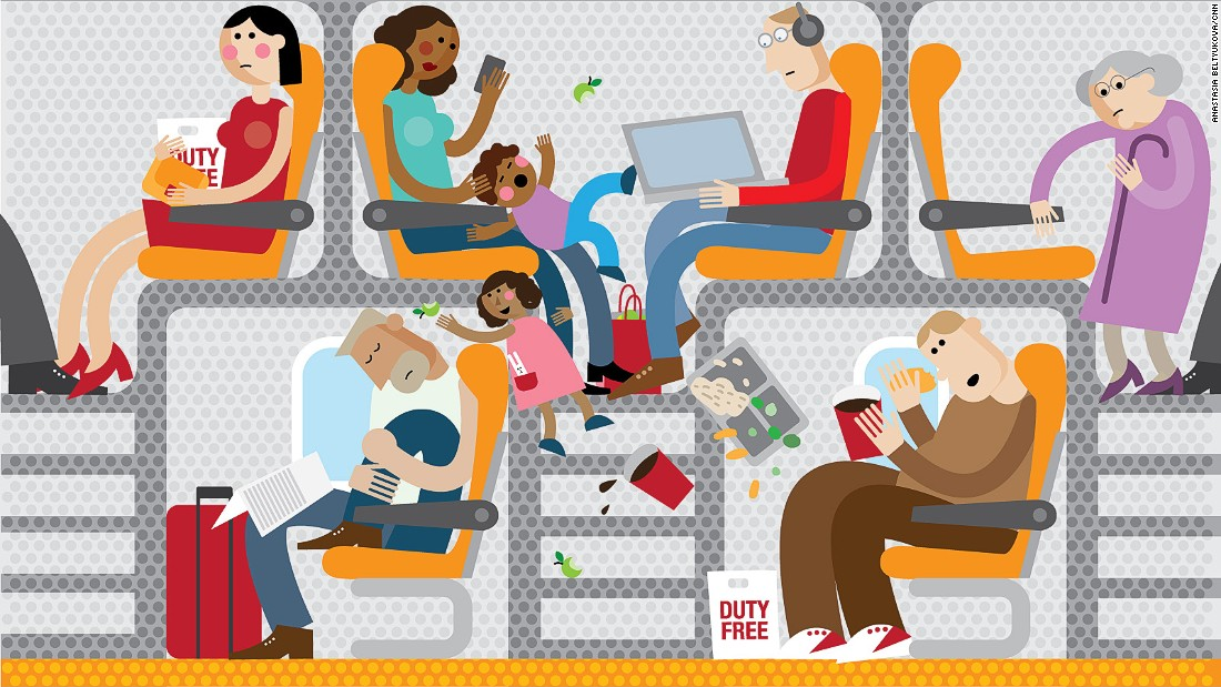 With airlines under pressure to slash fares and cram in ever more people without extending cabin space, passengers might soon be stacked on top of each other -- literally. This is our hellish version. Click on to see what real aviation engineers are coming up with.