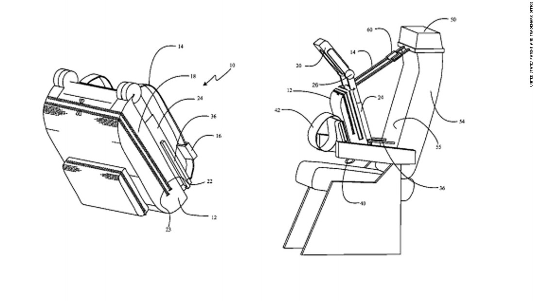 """Not to be outdone, Boeing has filed its share of eccentric patents, such as the <a href=""""http://patft.uspto.gov/netacgi/nph-Parser?Sect1=PTO1&Sect2=HITOFF&d=PALL&p=1&u=%2Fnetahtml%2FPTO%2Fsrchnum.htm&r=1&f=G&l=50&s1=8,985,693.PN.&OS=PN/8,985,693&RS=PN/8,985,69"""" target=""""_blank"""">""""upright sleep support system.""""</a> Its purpose is to help passengers rest during a flight by letting them lean face-forward into a cushion that has a hole to accommodate eyes, nose and mouth."""