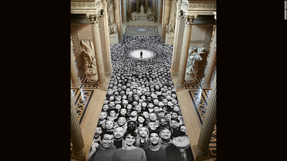 JR showcased 2,500 portraits from around the world to help celebrate the newly refurbished Pantheon in Paris in 2014. Faces lined the floor, walls and exteriors of the secular temple where many famous French people are buried.