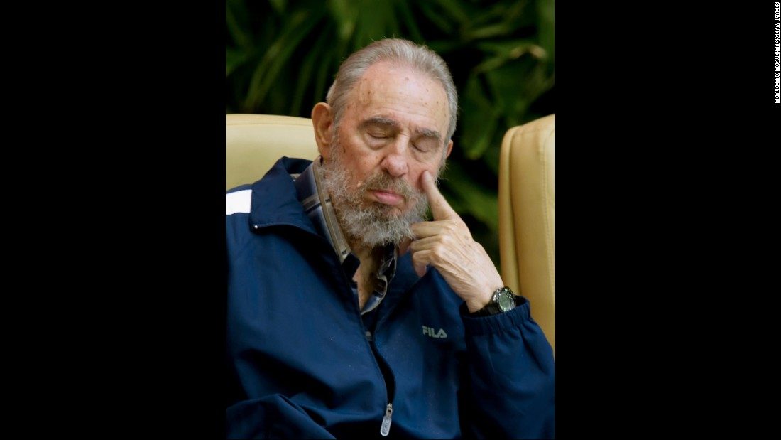 Former Cuban president Fidel Castro takes a nap during the final session of the 6th Cuban Communist Party Congress in April 2011 in Havana.
