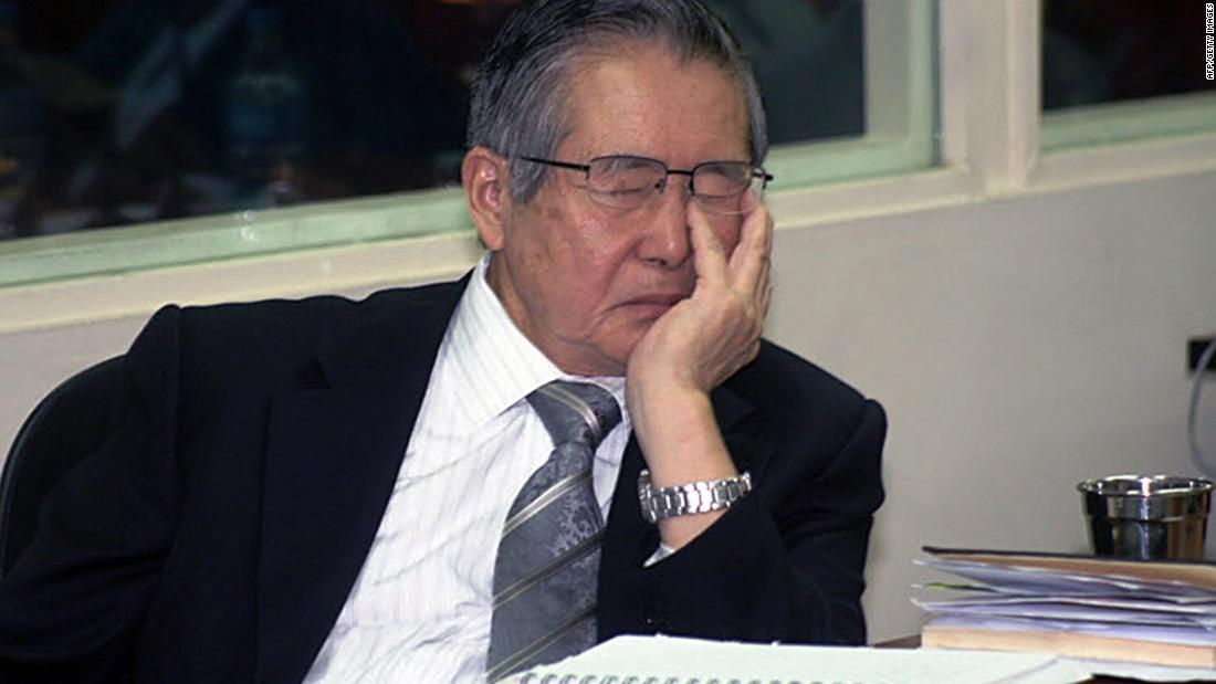 Alberto Fujimori, the former president of Peru, appeared to nod off at a hearing during his trial over alleged human rights violations in Lima in May 2008.