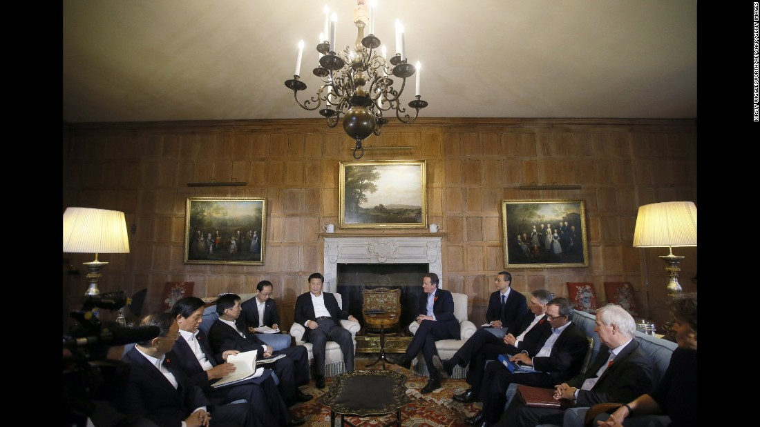 Cameron and Xi hold talks with their aides at Chequers, the Prime Minister's official country residence, on October 22.