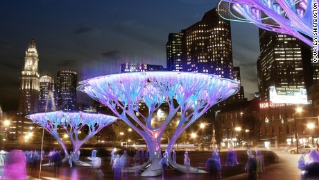 An artist's rendition of CO2-scrubbing Boston Treepods.