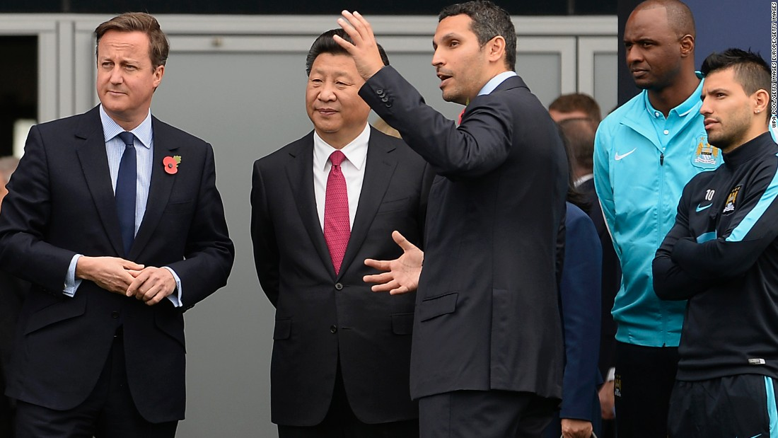 British Prime Minister David Cameron and Chinese President Xi Jinping visited Manchester City's training ground Friday. The pair met with chairman Khaldoon Al Mubarak as well as Sergio Aguero, the club's star Argentine striker.