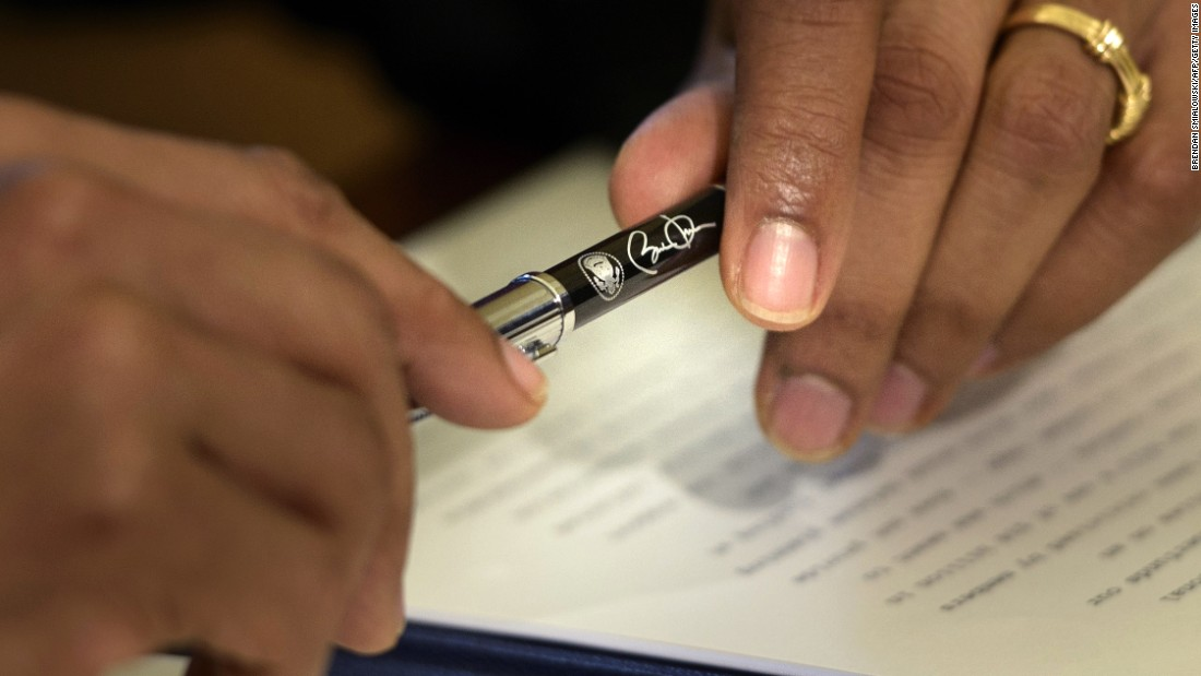"President Barack Obama holds a pen as he <a href=""http://www.cnn.com/2015/10/22/politics/obama-defense-bill-veto/index.html"" target=""_blank"">vetoes a defense-spending bill</a> on Thursday, October 22. Obama said the $612 billion National Defense Authorization Act used monetary tricks to circumvent mandatory spending caps that both Democrats and Republicans want to see eliminated."