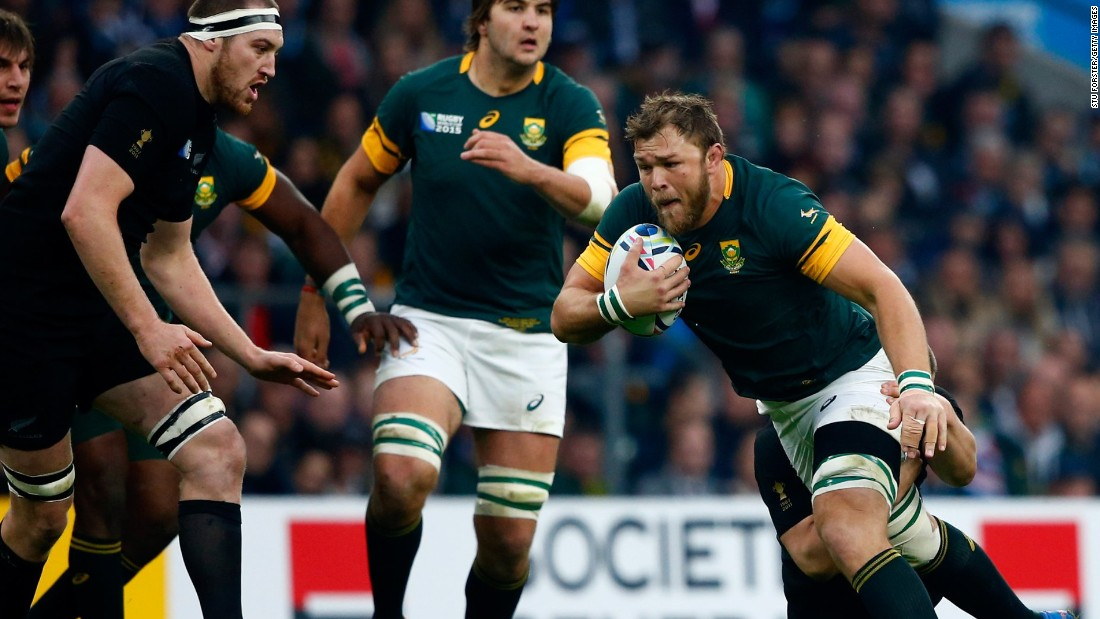 Duane Vermeulen of South Africa is tackled during the semifinal at Twickenham.