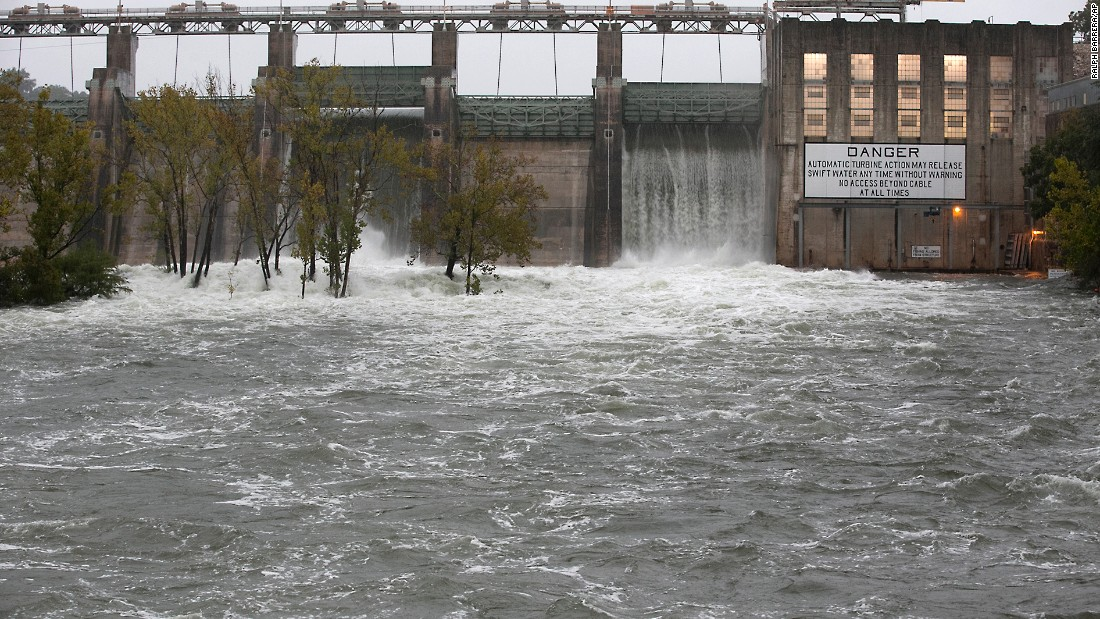 The Lower Colorado River Authority opened floodgates at Tom Miller Dam to relieve possible flooding on Lake Austin on October 24 in Austin.