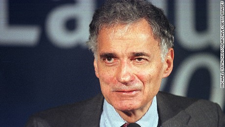 381476 03: Green Party presidential candidate Ralph Nader smiles at supporters, November 7, 2000 at the National Press Club in Washington. (Photo by Michael Smith/Newsmakers)