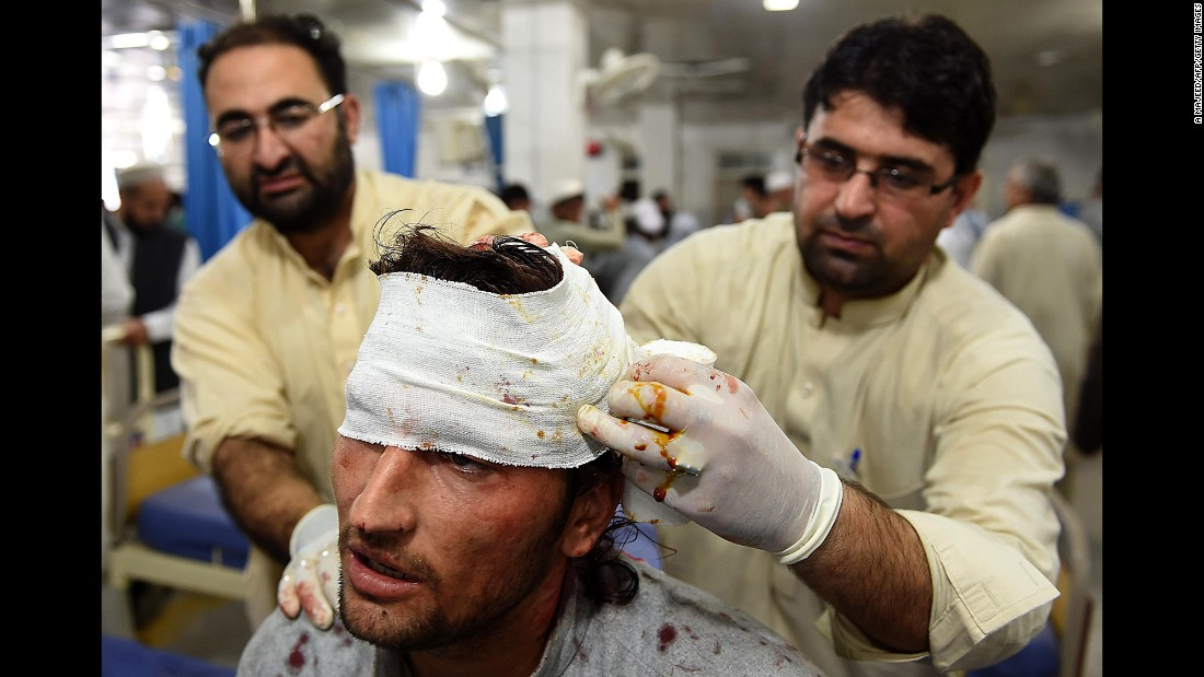 A man is treated at a hospital in Peshawar.