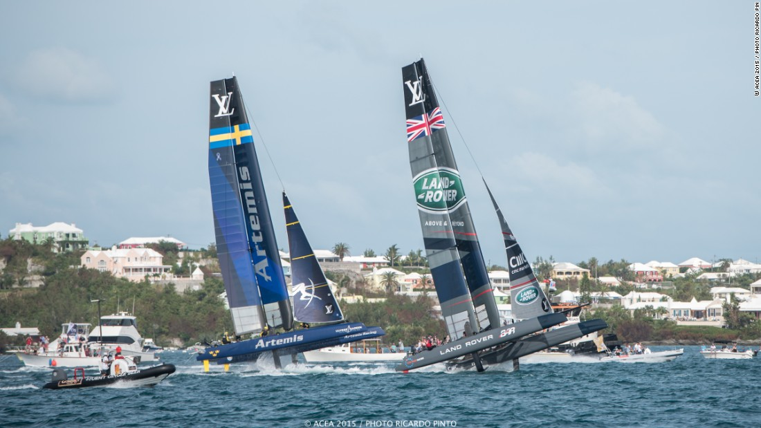 Artemis Racing and Land Rover BAR vie for first place. Artemis' weekend victory was made all the more incredible after recovering from a collision with an umpire boat at the start of Race 2.