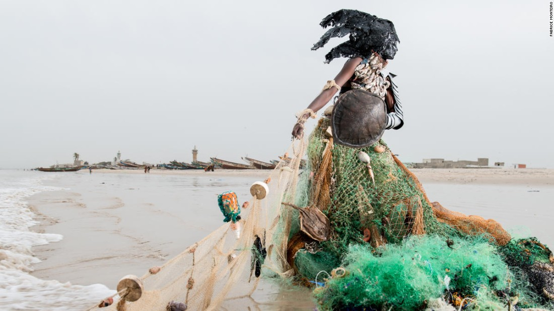 "The nine images in the series represent the nine unique messages of each ""djinn."" This ""djinn"", draped in a gown of tangled and polluted fishing nets, communicates its concern over careless fishing tactics, and features a gown made of fishing nets."