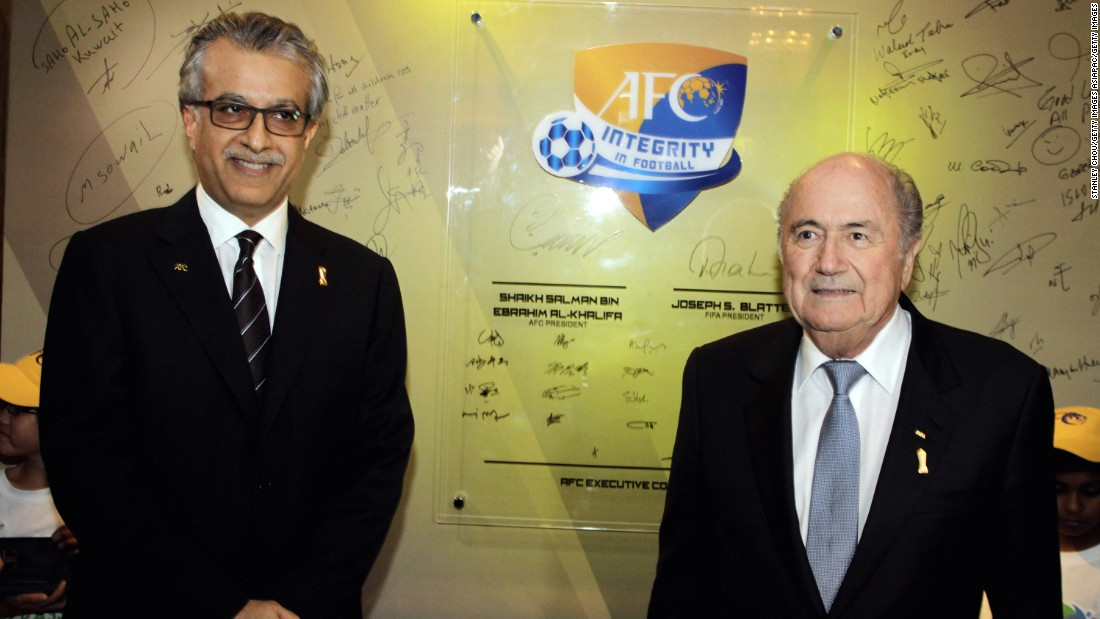 Asian Football Confederation president Sheikh Salman bin Ibrahim Al-Khalifa launched his bid to become the next FIFA president 24 hours before the deadline.  Sheikh Salman has been criticized by human rights organizations after being accused of complicity in crimes against humanity. Sheikh Salman's representatives were not immediately available for comment when contacted by CNN.