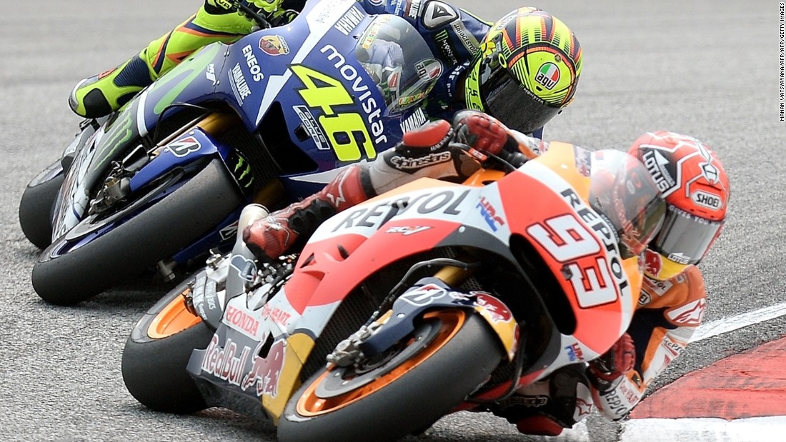 Valentino Rossi missed out on the 2015 title to Spaniard Jorge Lorenzo, and accused Marc Marquez of helping his compatriot to the crown. Here Rossi is pictured chasing Marquez during the MotoGP Malaysian Grand Prix.