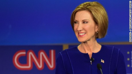 Republican presidential hopeful Carly Fiorina looks on during the Republican presidential debate at the Ronald Reagan Presidential Library in Simi Valley, California on September 16, 2015.  Republican presidential frontrunner Donald Trump stepped into a campaign hornet's nest as his rivals collectively turned their sights on the billionaire in the party's second debate of the 2016 presidential race.  AFP PHOTO / FREDERIC J. BROWN        (Photo credit should read FREDERIC J BROWN/AFP/Getty Images)
