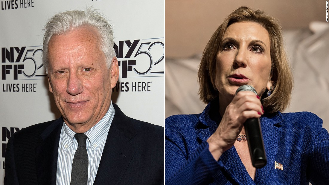 "Actor James Woods <a href=""http://www.cnn.com/2015/10/20/politics/james-woods-bernie-sanders-twitter/"" target=""_blank"">took to Twitter</a> to say how much he admired Republican presidential candidate Carly Fiorina, saying he was ""proud to support this remarkable woman and her historic campaign."" Fiorina suspended her candidacy in February."
