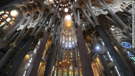 Columns and arches of the Sagrada Familia are seen during a solemn mass celebrated by the Pope Benedict XVI and consecrating Barcelona's famous temple in a basilica on November 7, 2010 during his two-day visit in Spain. Pope Benedict XVI warned today of a very strong clash between faith and modernity in Spain and he called for dialogue, not confrontation. The pontiff said an anti-clerical movement erupted in Spain in the 1930s in the run-up to the Spanish Civil War.     AFP PHOTO/ CHRISTOPHE SIMON (Photo credit should read CHRISTOPHE SIMON/AFP/Getty Images)