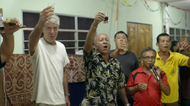 Bourdain goes drinking in Borneo