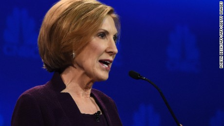 Republican Presidential hopeful Carly Fiorina speaks during the CNBC Republican Presidential Debate, October 28, 2015 at the Coors Event Center at the University of Colorado in Boulder, Colorado.