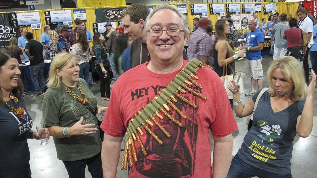 Home-made pretzel necklaces are a festival tradition. Ron Billinger of Highlands Ranch, Colorado, shows off his bandolier-style pretzel necklace. Billinger says the bandolier is easy to assemble and the pretzel rods are easy to deploy.