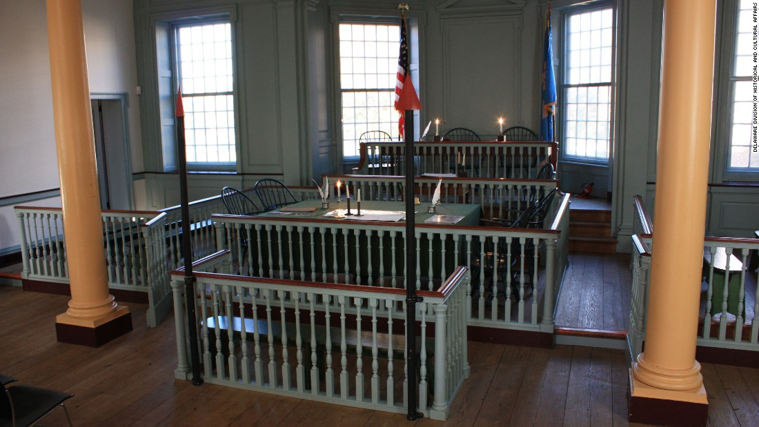 Samuel Burris was tried in 1847 at the courtroom of the Old State House in Dover. The courtroom was restored in 1976 and now appears as it would have in 1791. The pardon ceremony was held here.