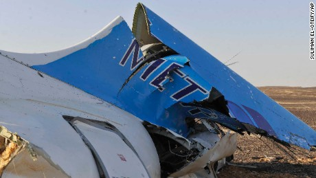 This image released by the Prime Minister's office shows the tail of a Metrojet plane that crashed in Hassana Egypt, Friday, Oct. 31. The Russian aircraft carrying 224 people, including 17 children, crashed Saturday in a remote mountainous region in the Sinai Peninsula about 20 minutes after taking off from a Red Sea resort popular with Russian tourists, the Egyptian government said. There were no survivors.