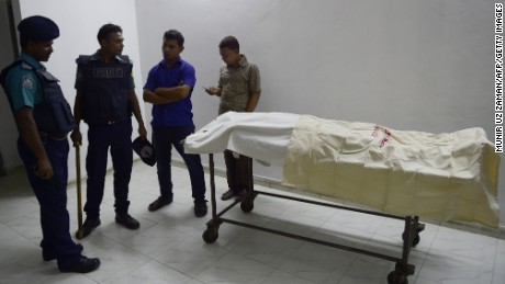 The body of Bangladeshi publisher Faisal Arefin Dipan lies at the Dhaka medical college hospital.