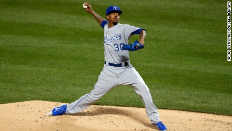 Yordano Ventura of the Kansas City Royals pitches in the first inning October 31.