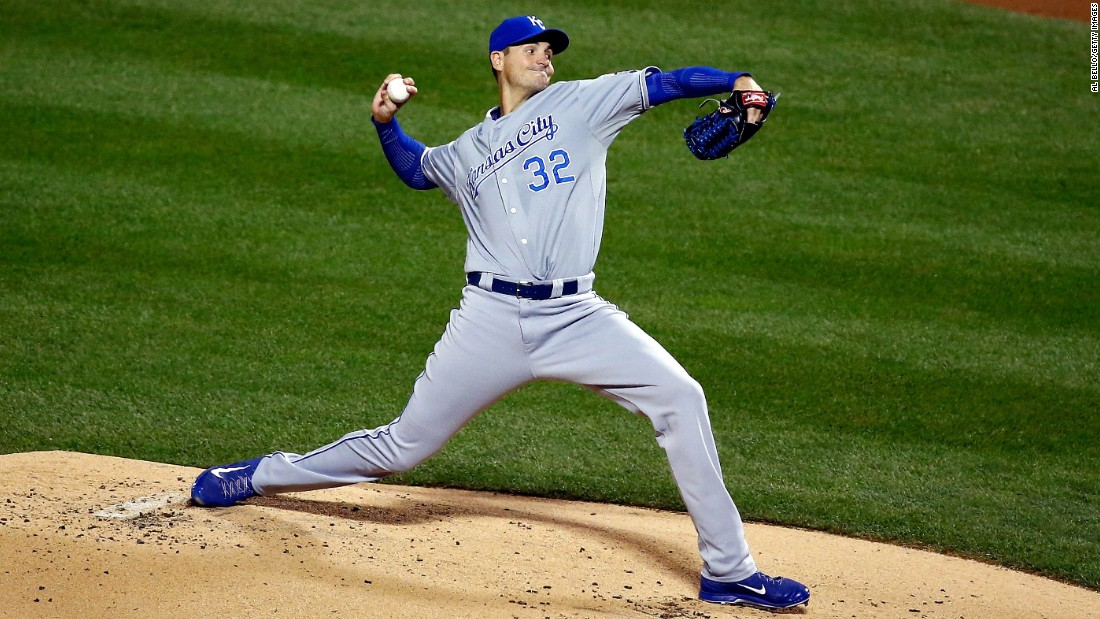 Chris Young of the Royals pitches in the first inning.