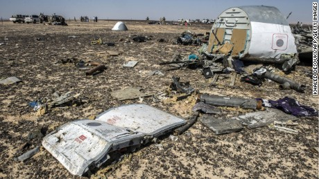 Debris belonging to the A321 Russian airliner areseen at the site of the crash November 1.