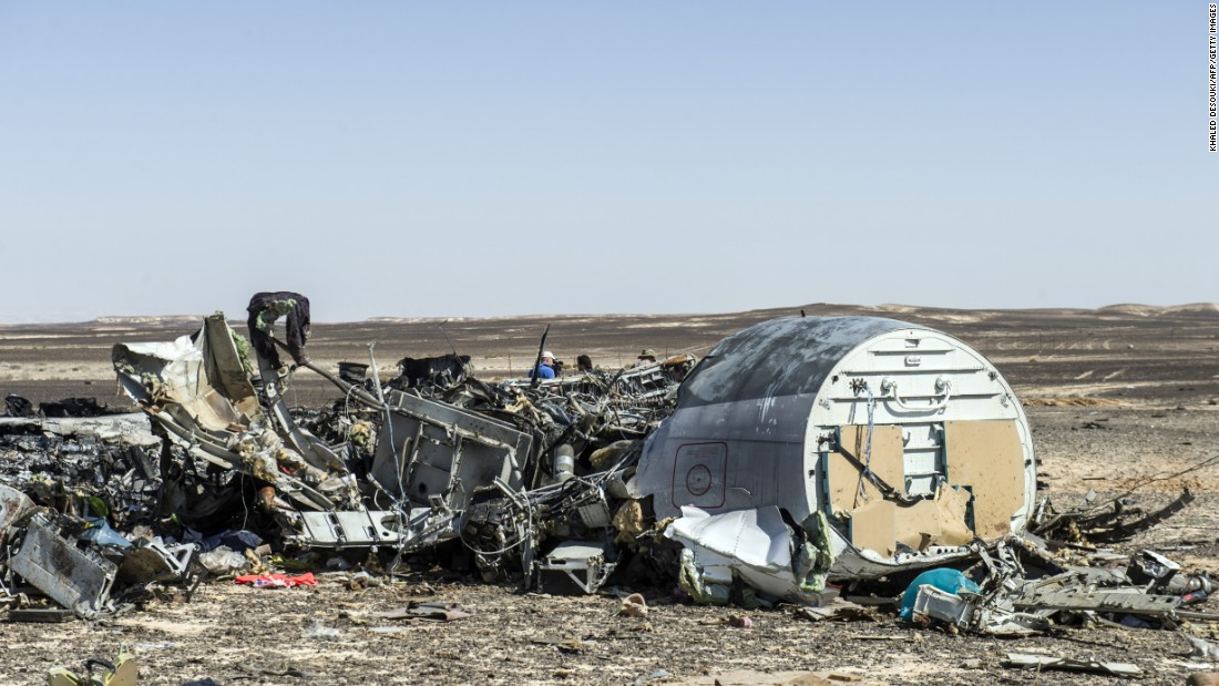 Debris from the airliner is seen on November 1.