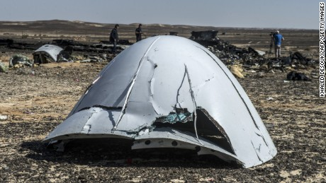 Debris of the A321 Russian airliner at the crash site on November 1.