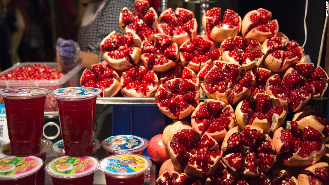 Pomegranates are a local specialty product. Pomegranate juice stands pop up around town every fall.