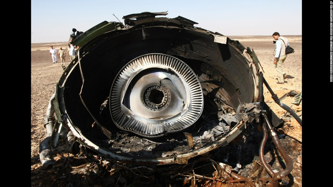 A piece of the engine sits on the ground at the crash site on November 1.