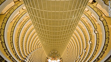 View straight down from the 33-storey atrium of the Grand Haytt, Shanghai, China, Thursday, Mar 4, 2010. The central column is for the hotel's elevators.